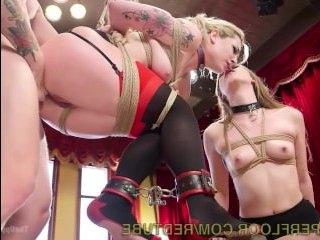 Жесткий БДСМ секс с блондинкой и брюнеткой, которых оттрахали до визга